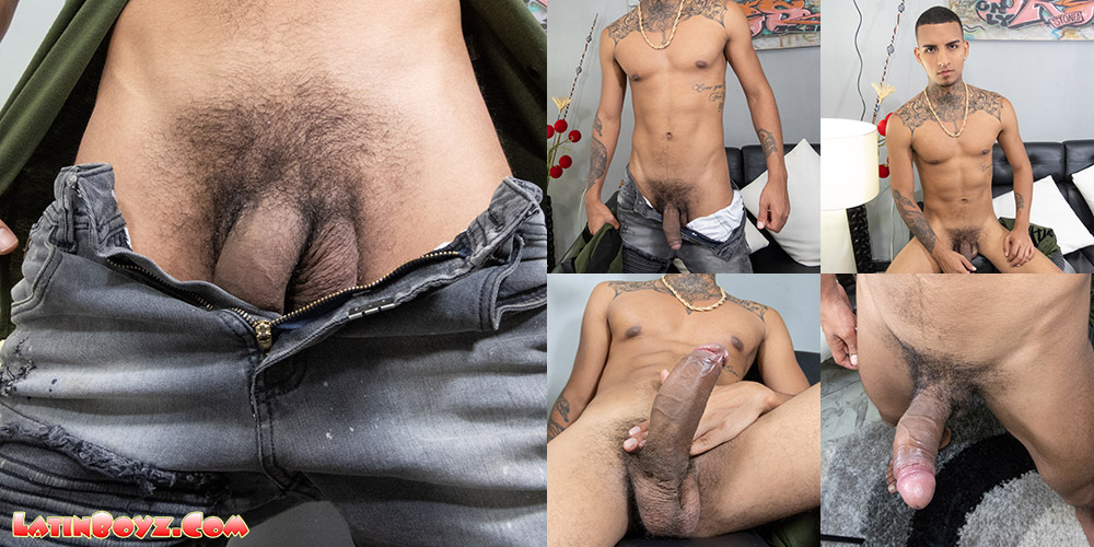 Grueso shows off his thick uncut Latin cock